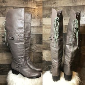 BCBGeneration Adry Dark Taupe Lace Up Riding Boots